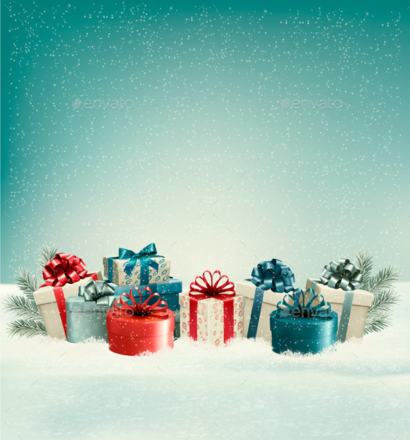 Christmas Gift Boxes in Snow - Christmas Seasons/Holidays