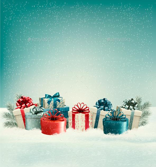 Christmas Gift Boxes in Snow - Christmas Seasons/Holidays
