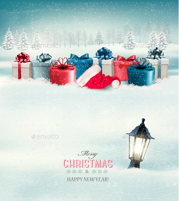 Winter Christmas Background with Presents - Christmas Seasons/Holidays