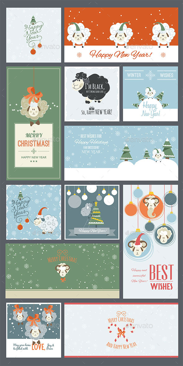 Cute Sheep New Year Cards and Banners - New Year Seasons/Holidays