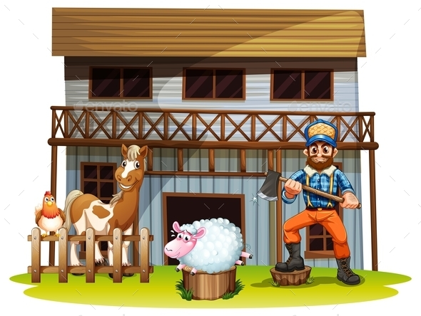 Animals and Lumberjack - People Characters