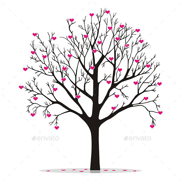 Valentine Tree with Hearts - Valentines Seasons/Holidays