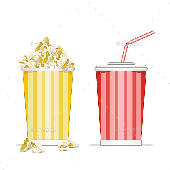 Popcorn and Coke Cup - Food Objects