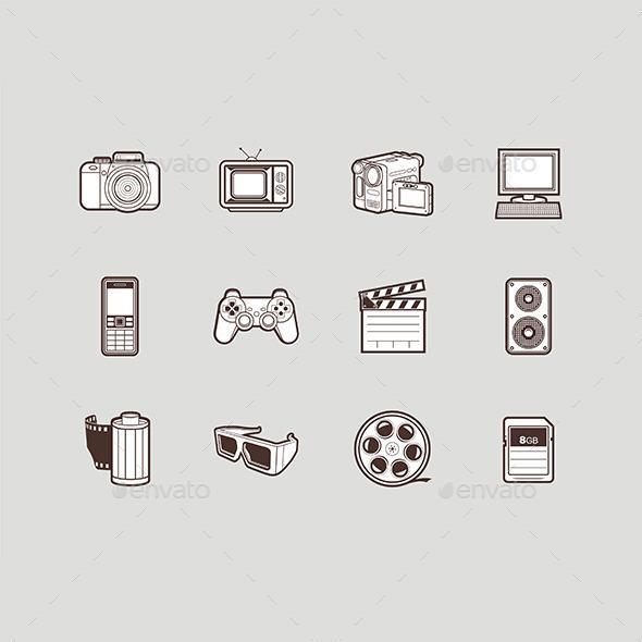 Multimedia Icons Set - Media Technology