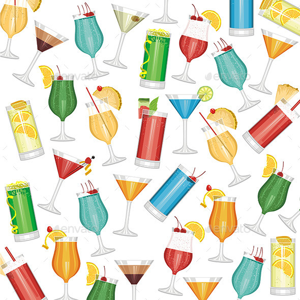 Cocktails Pattern - Objects Vectors