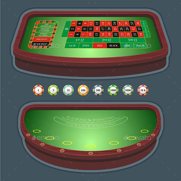 Roulette Table Blackjack - Objects Vectors