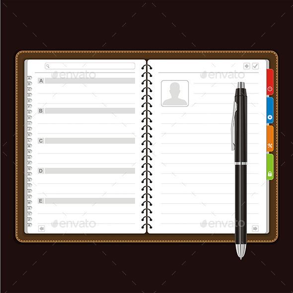 Open Personal Organizer Vector - Business Conceptual