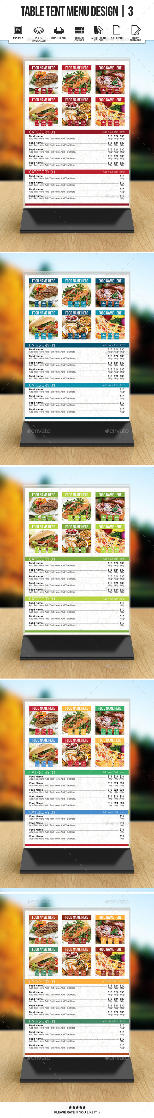 Table Tent Menu Design | 3 - Food Menus Print Templates