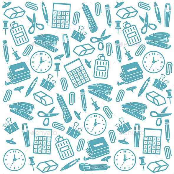 Office Supplies Background - Objects Vectors
