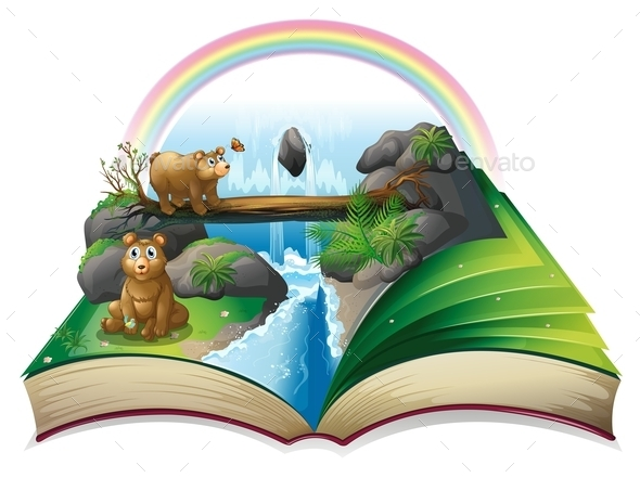 Waterfall Book - Objects Vectors