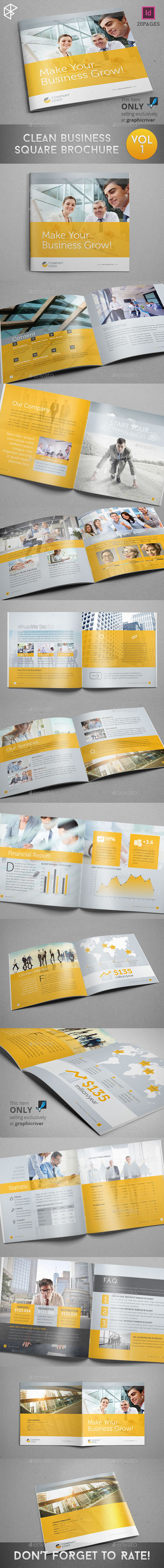Clean Business Square Brochure - Corporate Brochures