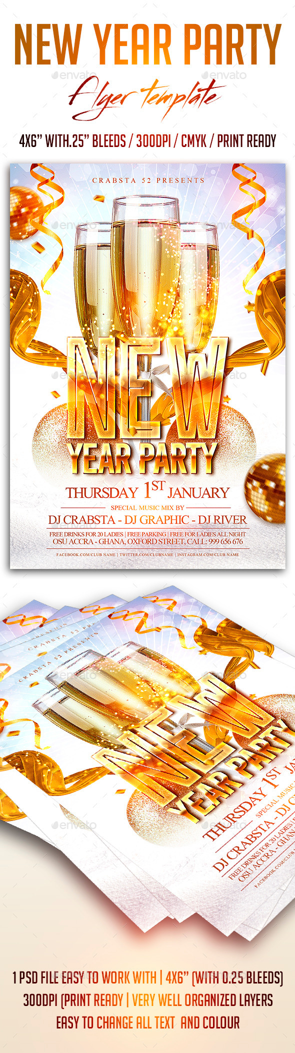 New Year Party Flyer Template - Flyers Print Templates