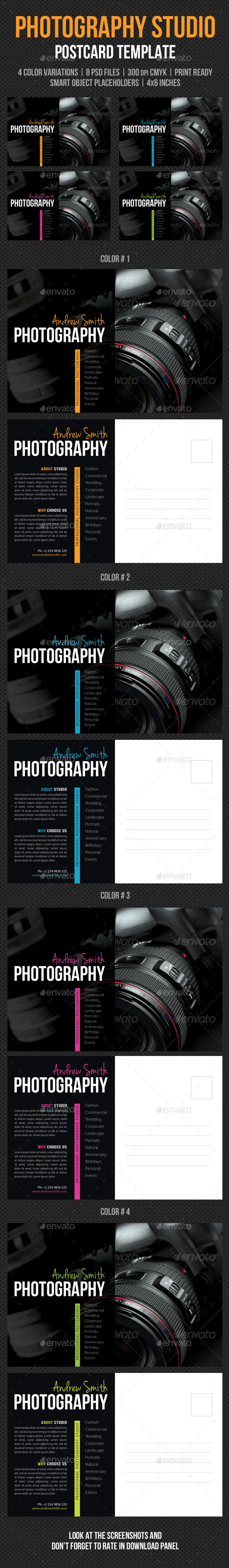 Photography Studio Postcard Template V03 - Cards & Invites Print Templates