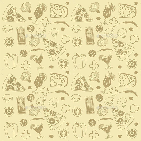 Pizza Pattern - Food Objects