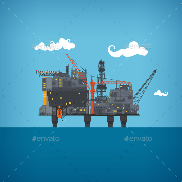 Sea Oil Platform - Industries Business