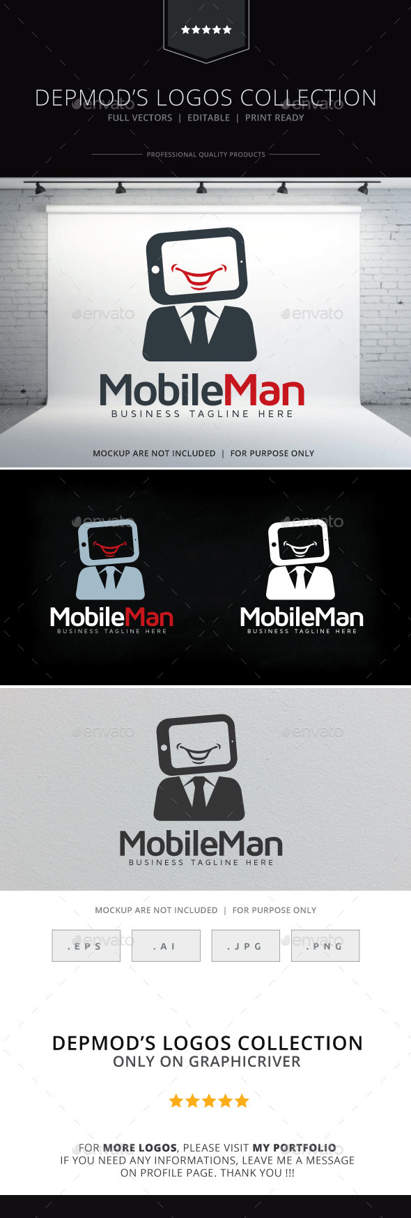 Mobile Man Logo - Humans Logo Templates