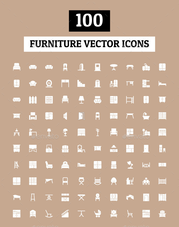 100 Furniture Vector Icons - Man-made objects Objects