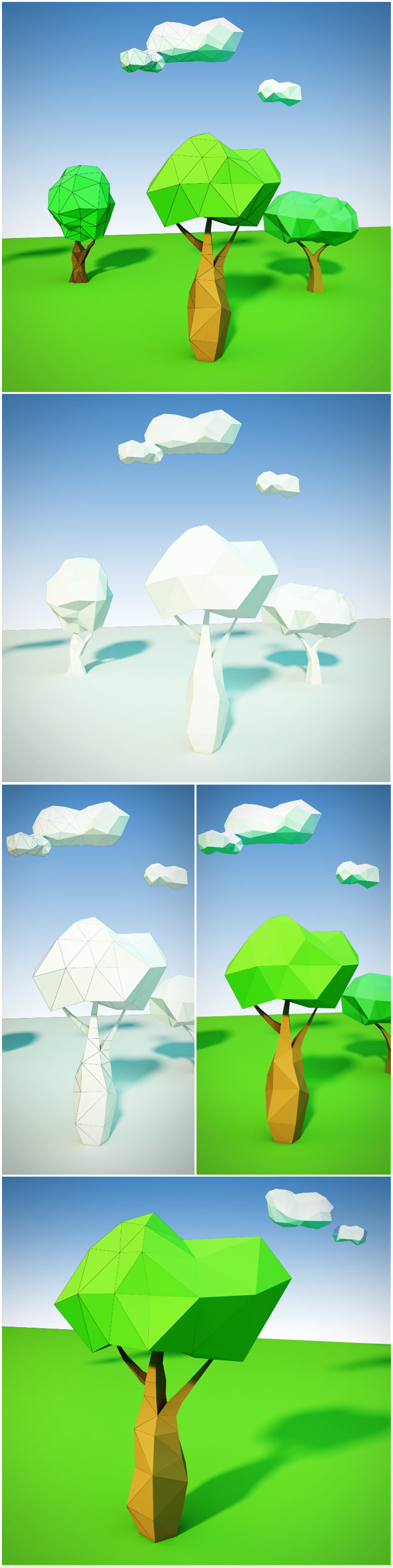 Trees and clouds low poly - 3DOcean Item for Sale