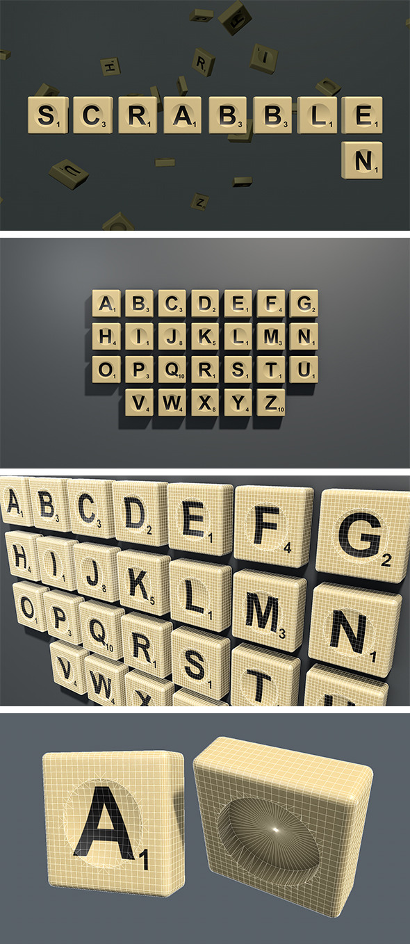 Scrabble letter tiles in English - 3DOcean Item for Sale