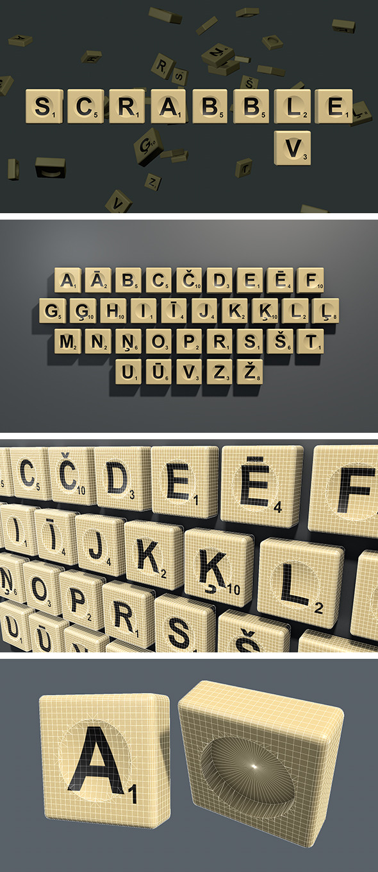 Scrabble letter tiles in Latvian - 3DOcean Item for Sale
