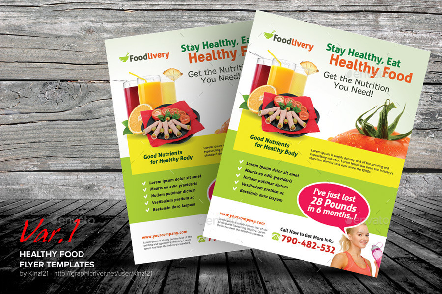 Healthy Food Flyer Templates By Kinzi GraphicRiver - Food brochure templates