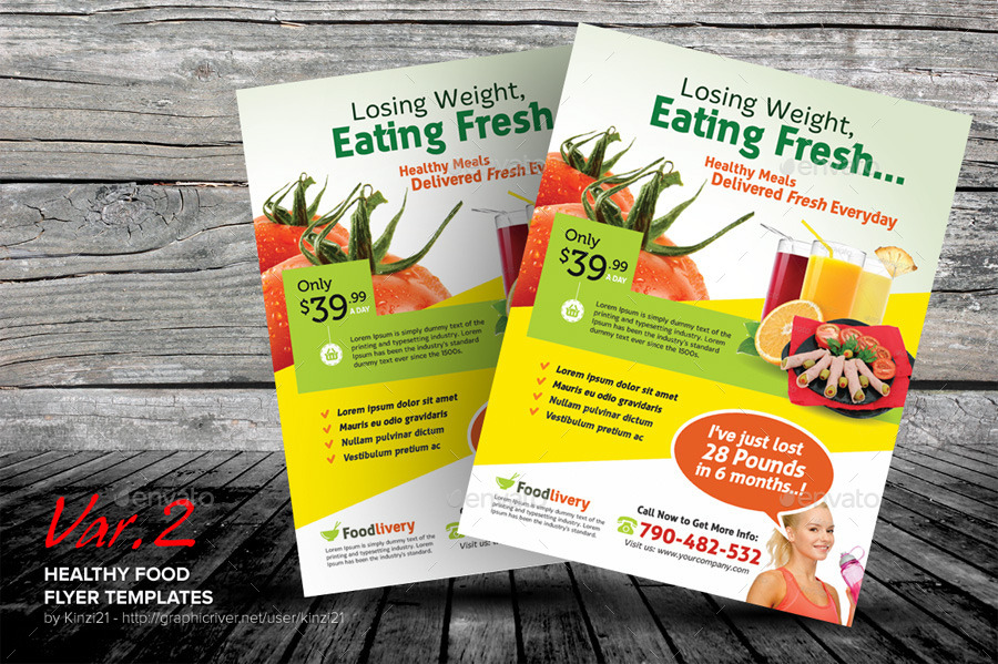 Healthy Food Flyer Templates By Kinzi21 Graphicriver
