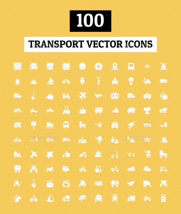100 Transport Vector Icons - Icons