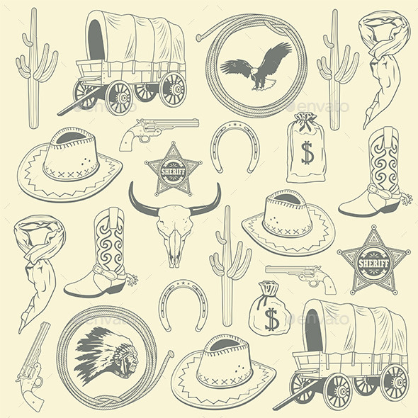 Cowboy Seamless Pattern  - Vectors