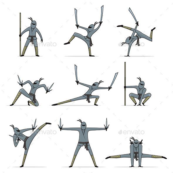 Set of Ninja - People Characters