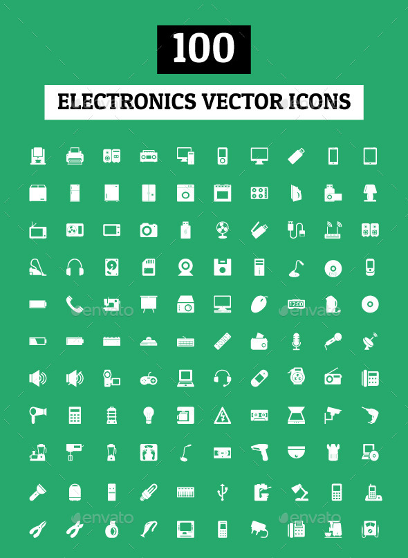 100 Electronics Vector Icons - Objects Icons