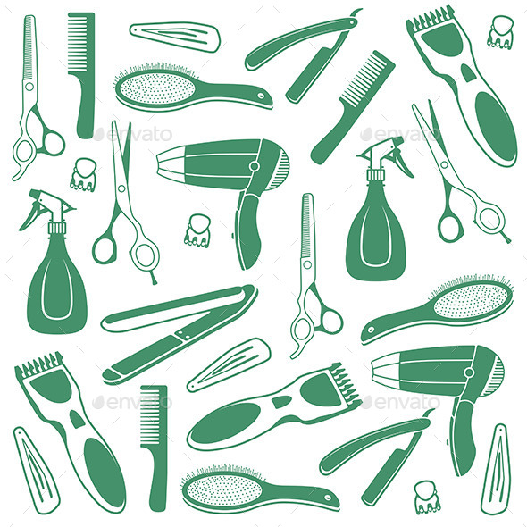 Barber Seamless Background - Objects Vectors