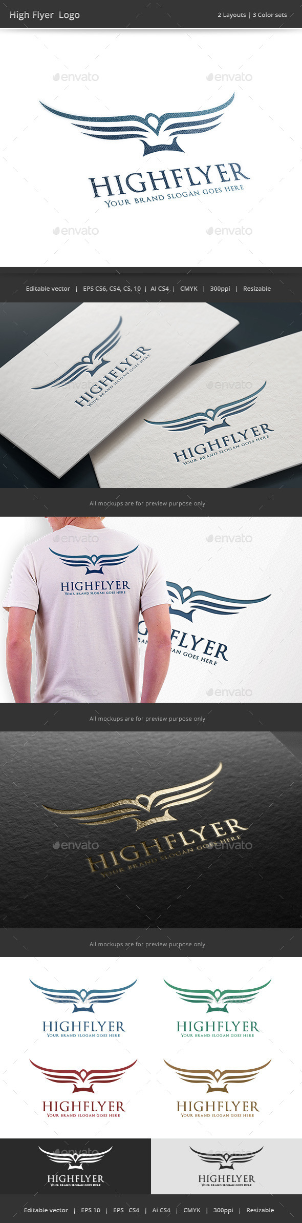 High Flyer Bird Logo - Vector Abstract