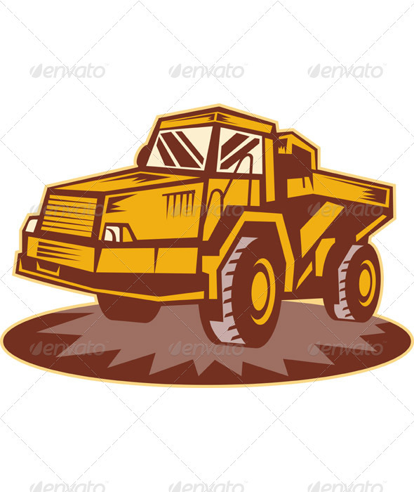 Mining Dump Truck Retro Style - Man-made Objects Objects
