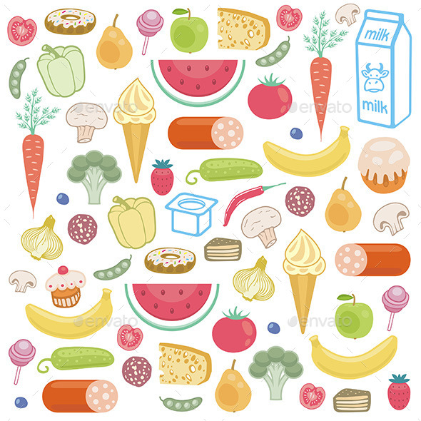Food Icons Set - Food Objects