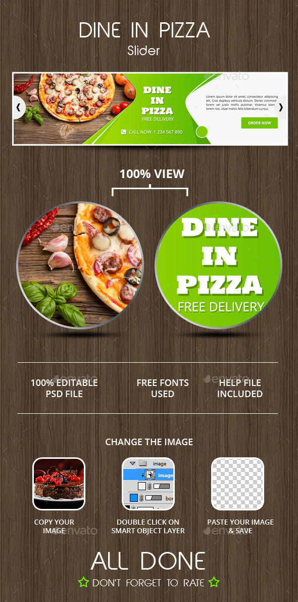 Dine In Pizza Slider - Sliders & Features Web Elements