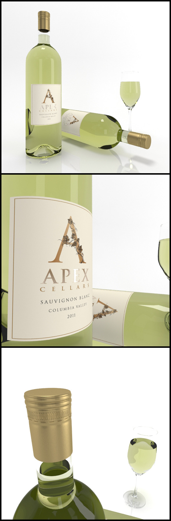 Sauvignon Blanc wine bottles & full glass: Apex - 3DOcean Item for Sale