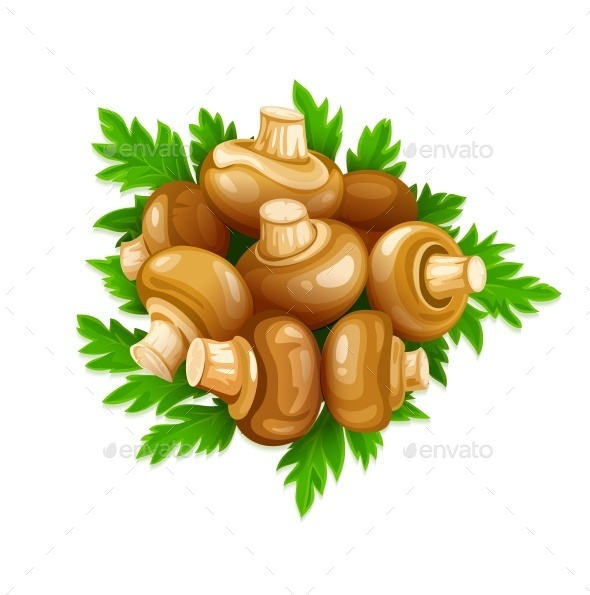 Mushrooms Champignons with Green Parsley  - Miscellaneous Vectors