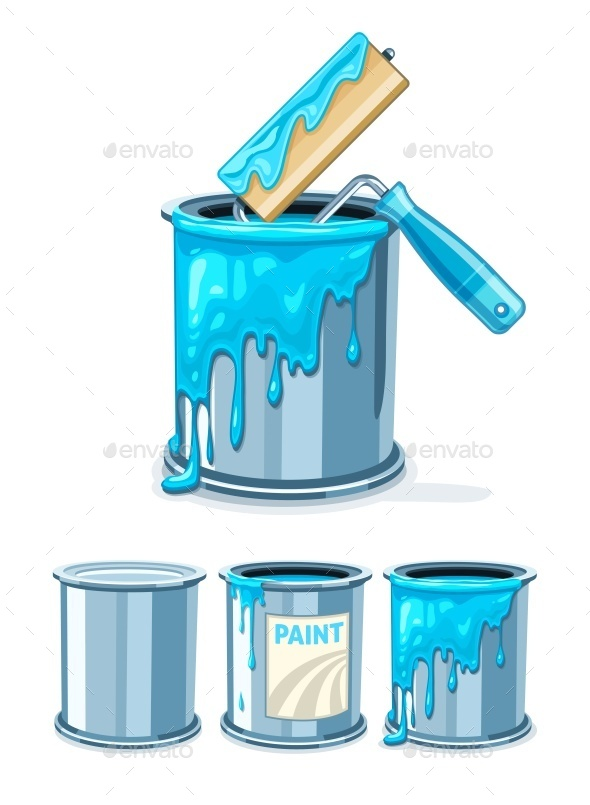 Buckets with Blue Paint and Roller for Painting - Man-made Objects Objects