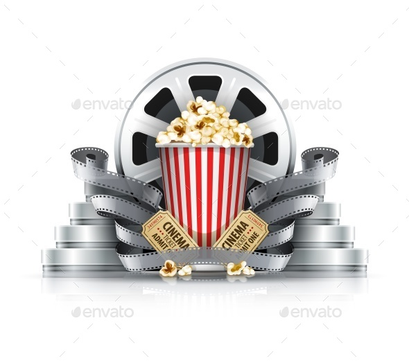 Popcorn Film-Strips and Disks with Cinema - Man-made Objects Objects