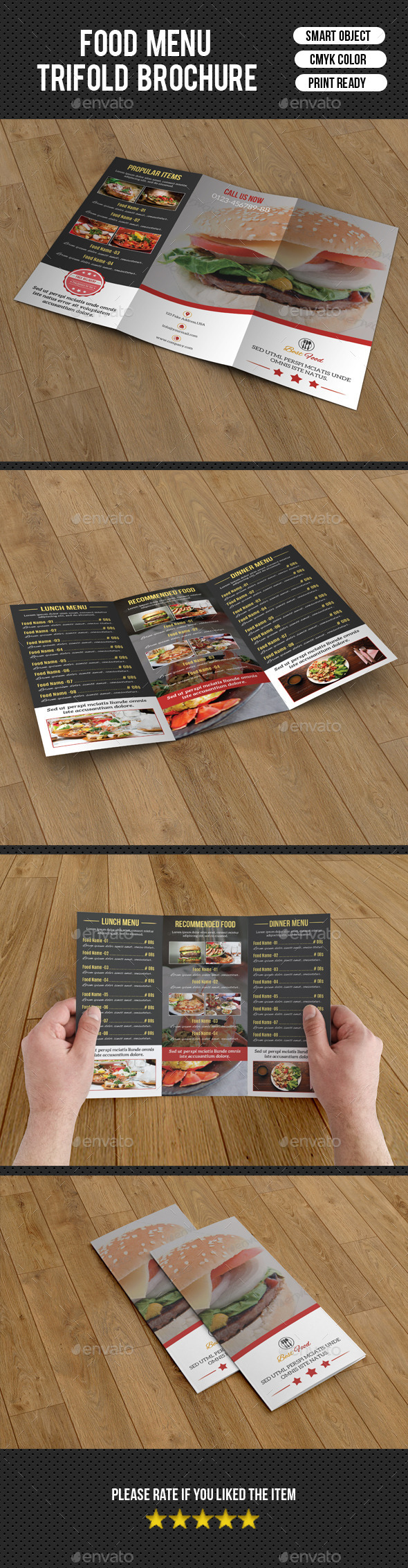 Food Menu Trifold Brochure-V205 - Food Menus Print Templates