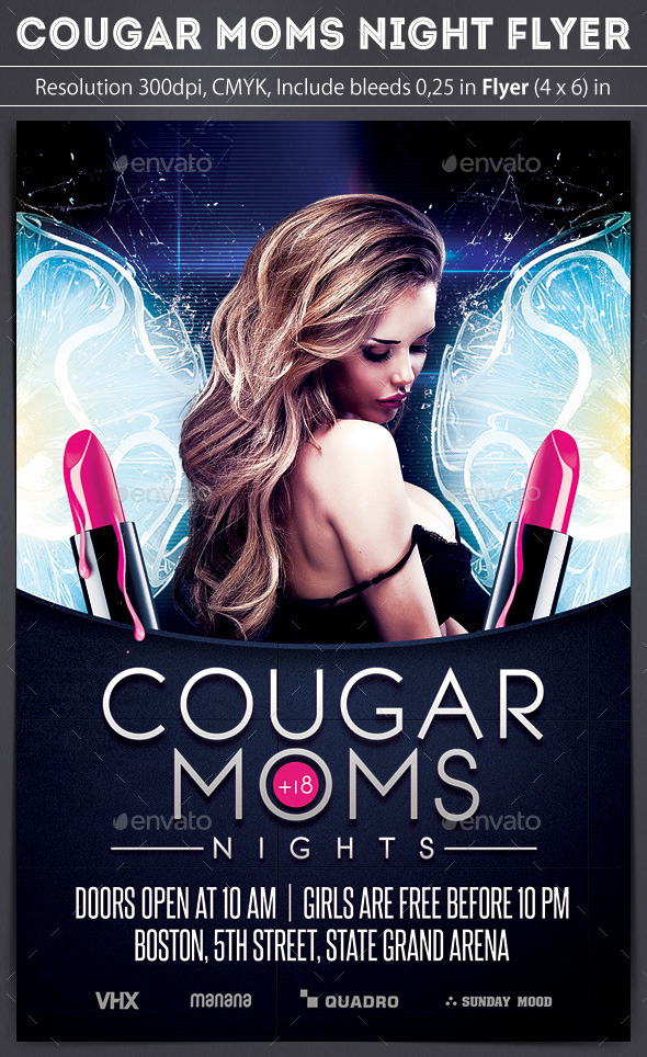 Cougar Moms Night Flyer - Clubs & Parties Events