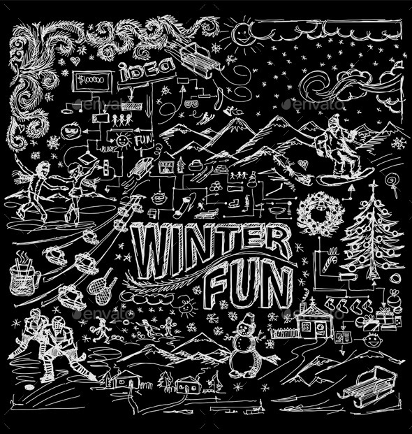Winter Fun Sketch Background - Seasons/Holidays Conceptual
