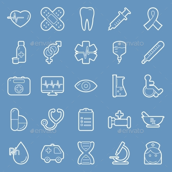 Medical Lines Icon Set - Health/Medicine Conceptual