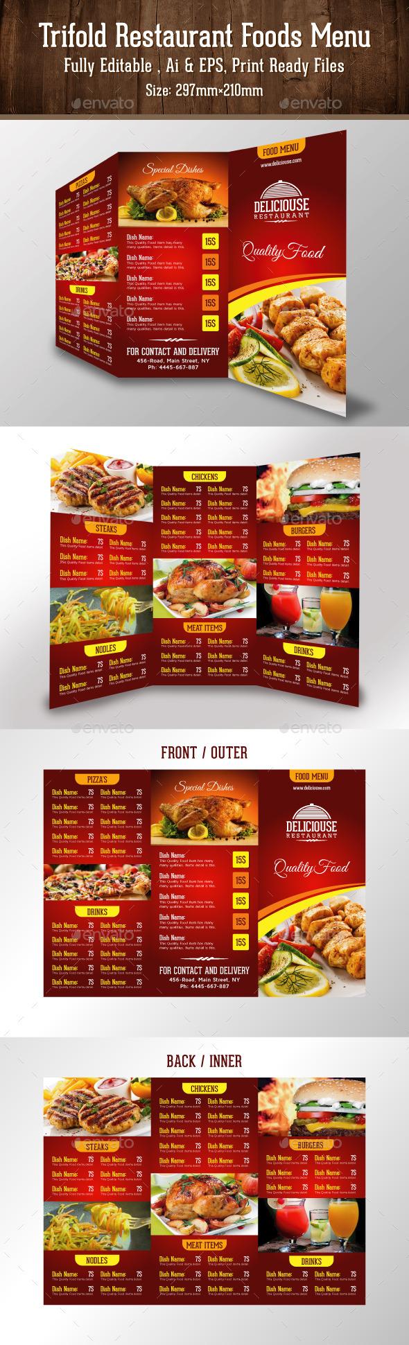 Trifold Restaurant Foods Menu - Food Menus Print Templates