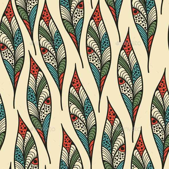 Seamless Pattern with Bright Feathers - Patterns Decorative