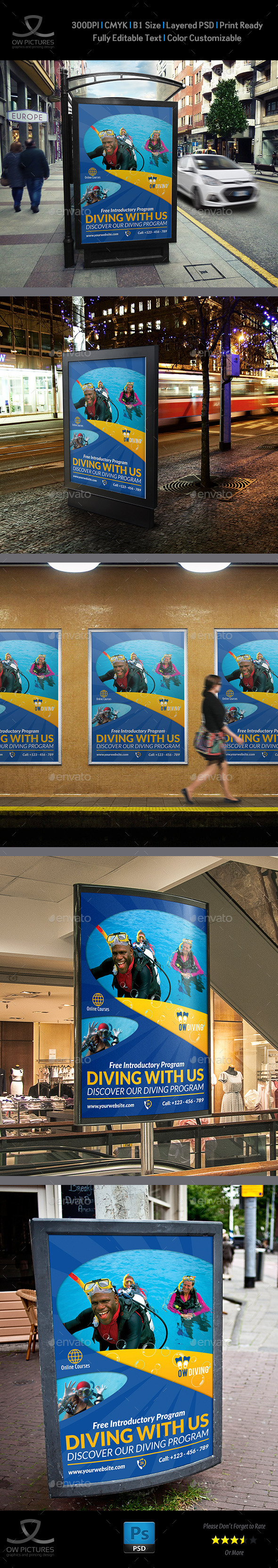 Diving Poster Template - Signage Print Templates