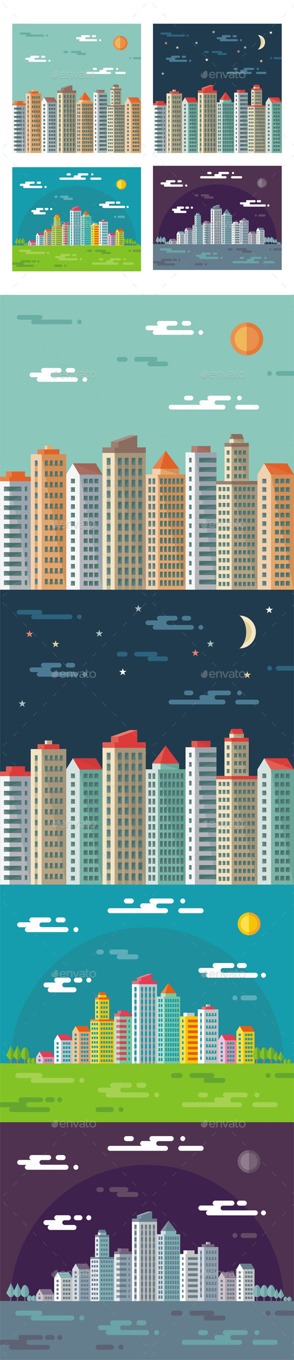 Cityscape - Abstract Buildings in Flat Style - Buildings Objects