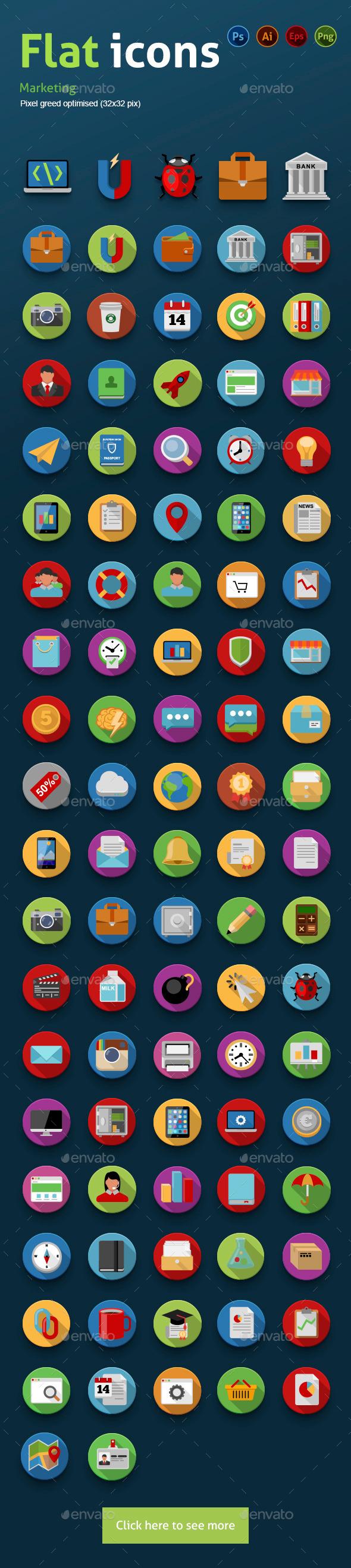 Flat Icons Marketing - Media Icons