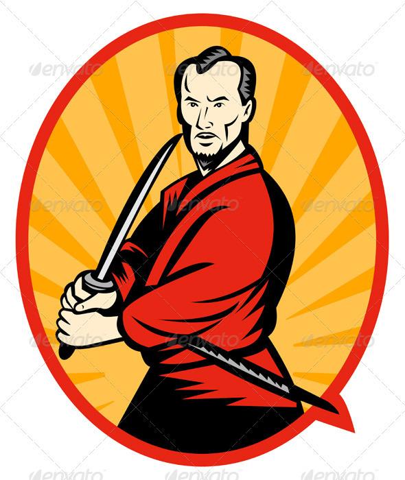 Samurai Warrior With Katana Sword Retro Style - People Characters