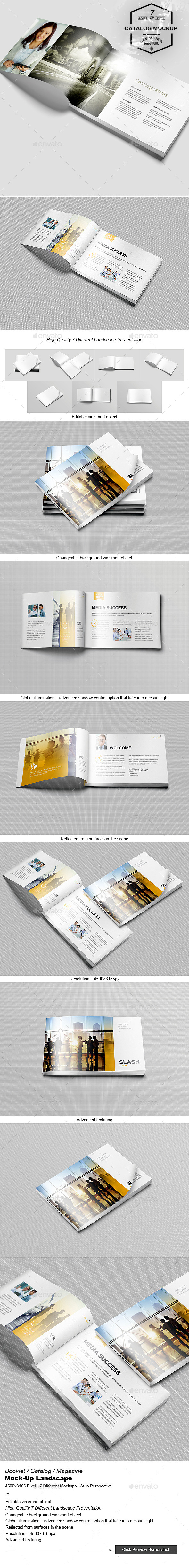 Booklet / Catalog / Magazine Mock-Up Landscape - Brochures Print